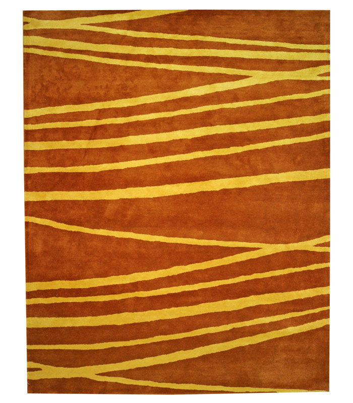 Rust Gold Wool Rect Rug