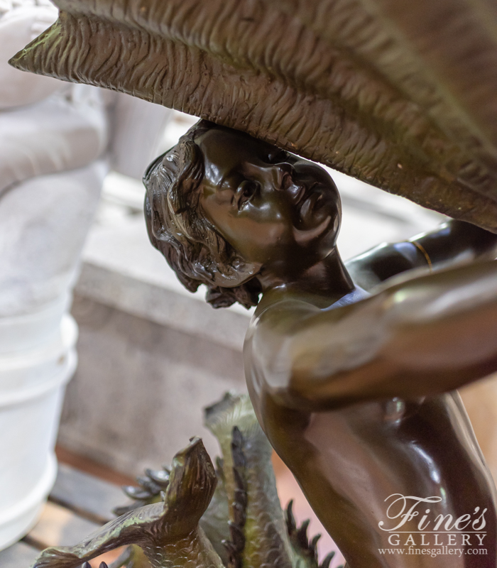 Bronze Fountains  - Cherub Fish Bronze Fountain - BF-140