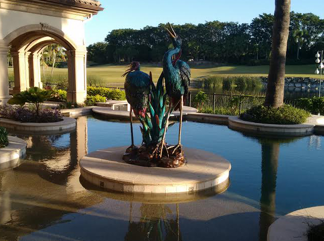 Bronze Fountains  - Blue Green Bronze Herons Fountain - BF-706