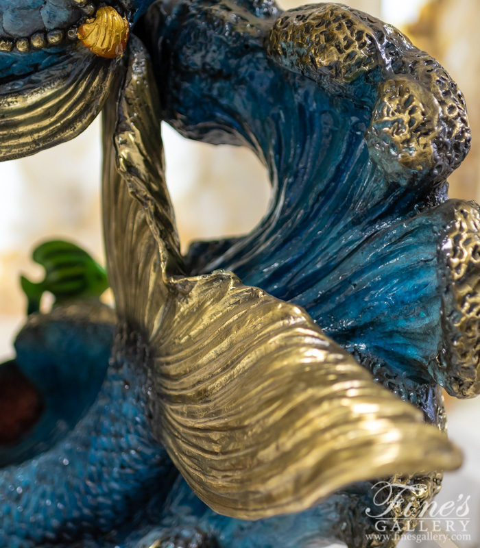 Bronze Fountains  - Bronze Mermaid And Tropical Fish Fountain Feature - BF-831