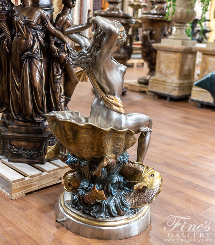 Bronze Fountains  - Lady On Shell Bronze Fountain - BF-857
