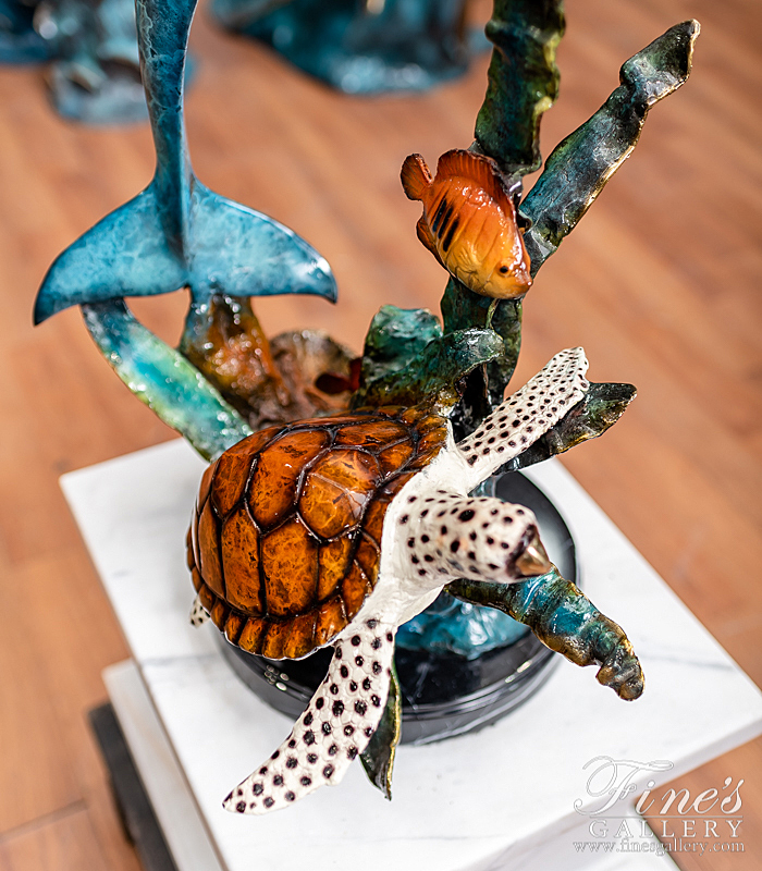 Search Result For Bronze Statues  - Dolphin, Turtle & Fish Bronze Sculpture - BS-1318