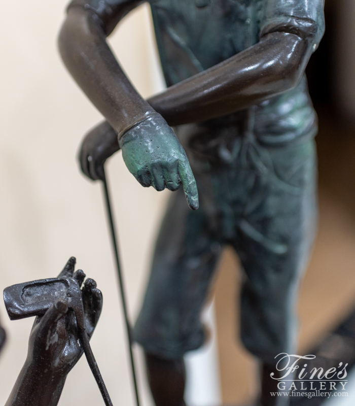 Bronze Statues  - Two Children Golfers Bronze Statue - BS-133