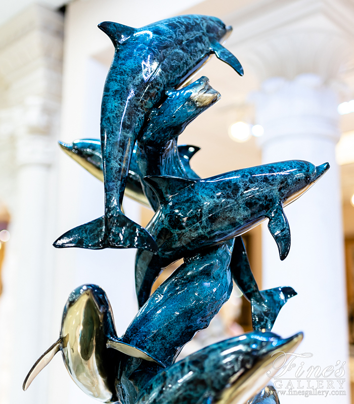 Bronze Statues  - Six Dolphins Sculpture - BS-1428