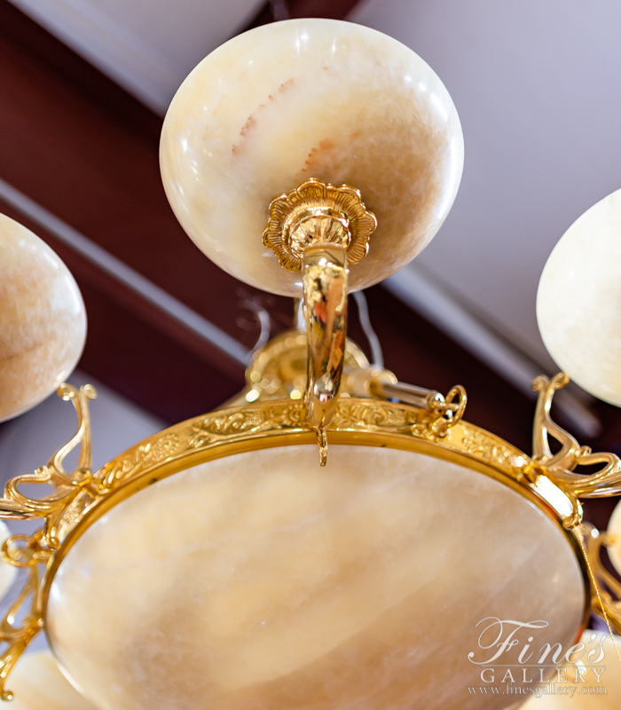 Lighting Chandeliers  - Cream & Gold Large Chandelier - LC-221