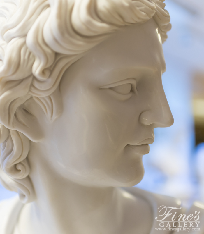 Marble Statues  - Bust Of Apollo In Pure White Marble - MBT-459