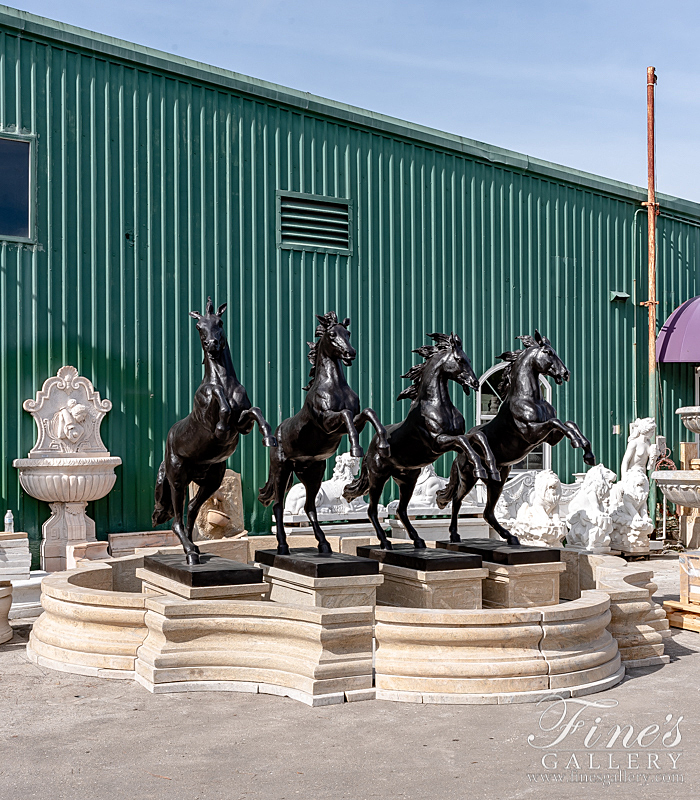Marble Fountains  - Four Rearing Bronze Horses Fountain - MF-1334