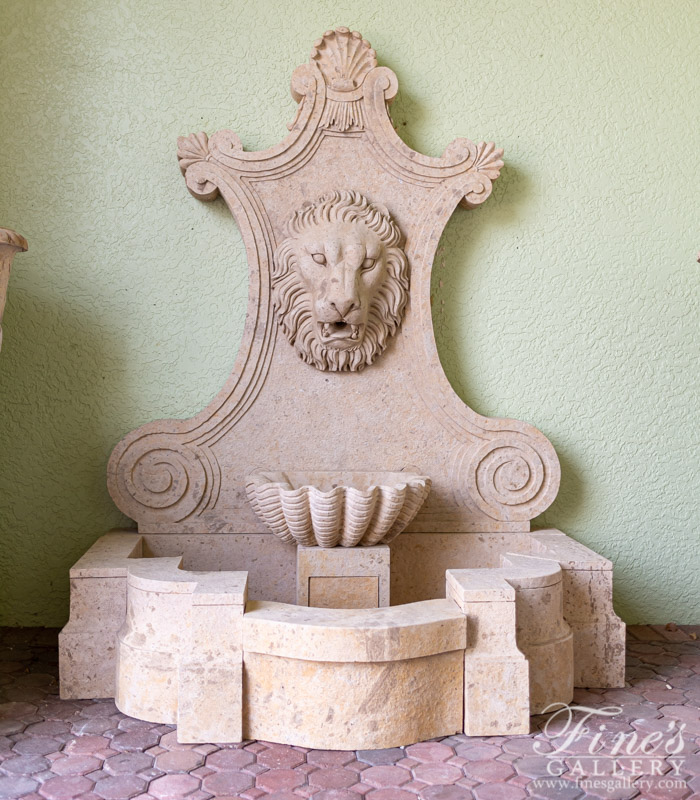 Marble Fountains  - Aged Finish Natural Stone Wall Fountain - MF-1818