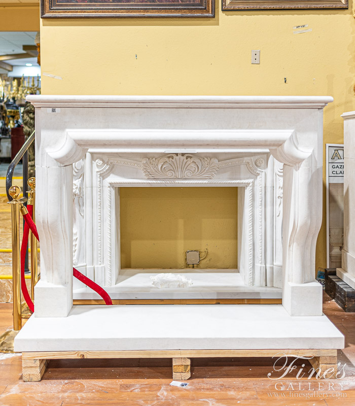 Marble Fireplaces  - Carved Limestone Mantel In French Limestone - MFP-2087