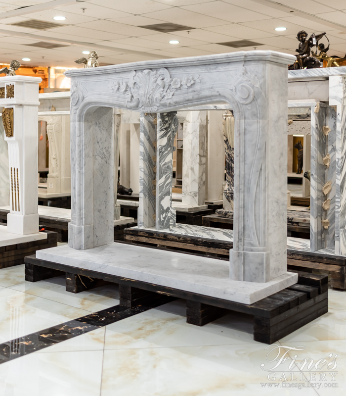 Marble Fireplaces  - Pristine French Style Carrara Marble Fireplace - MFP-2096