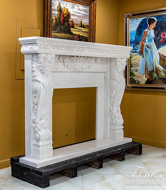 Marble Fireplaces  - Hand Carved Statuary Marble Mantel - MFP-997