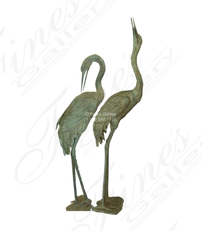 Patina Bronze Crane Pair