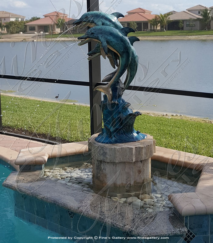 Bronze Three Dolphins Fountain