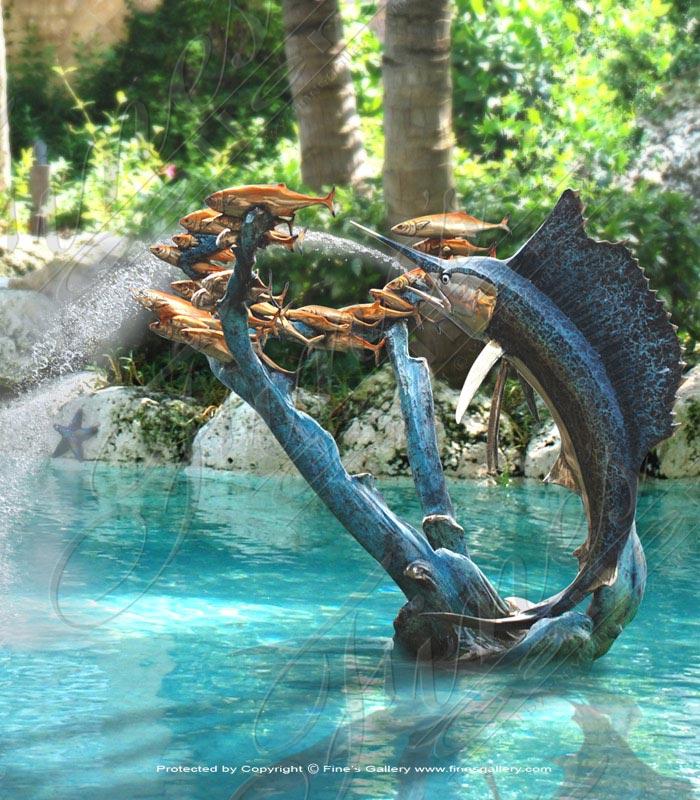 Marlin and Fish Bronze Fountain