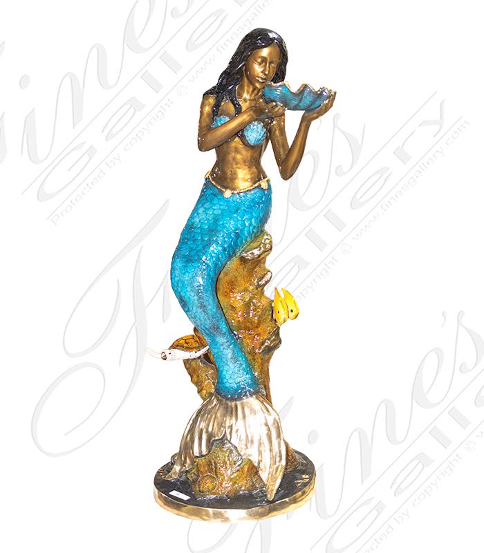 Bronze Mermaid Holding a Shell Fountain