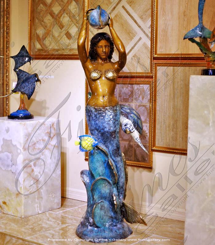 Bronze Fountain of Mermaid,Turtle & Fish