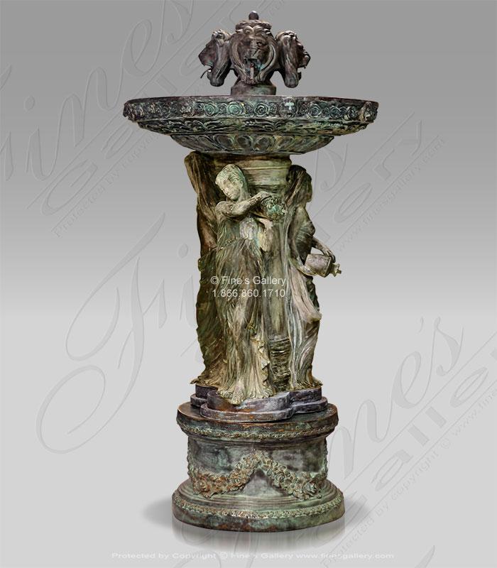 Antique Patina Bronze Ladies and Lions