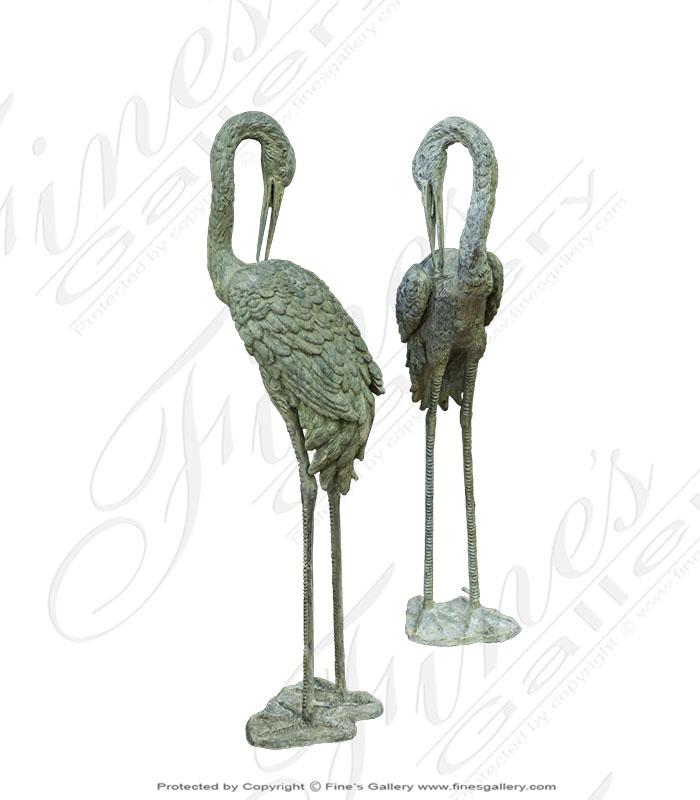 Bronze Crane Fountain Pair - 39 inch