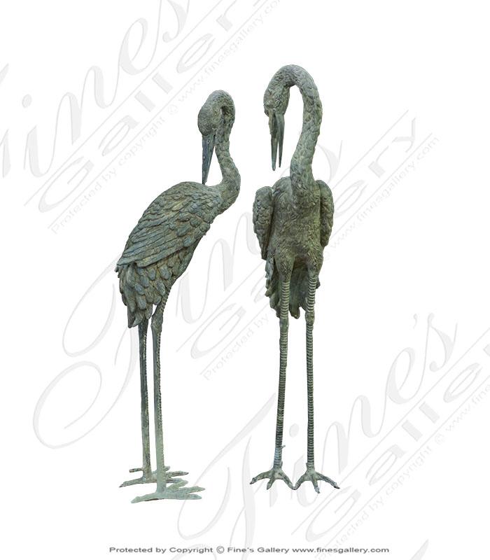 Antique Patina Bronze Crane Pair
