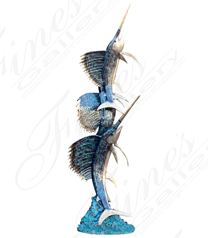 A Trio of Sailfish in Bronze