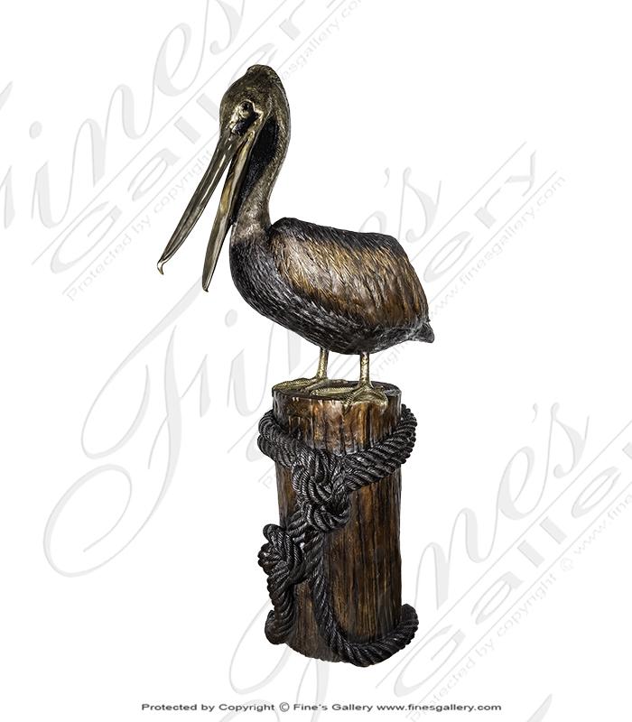 Pelican on Pier Bronze Fountain