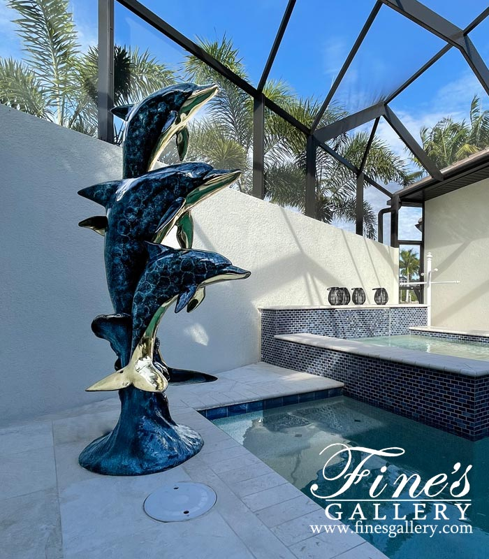 Three Dolphins Bronze Fountain in Dazzling Blue Enamel