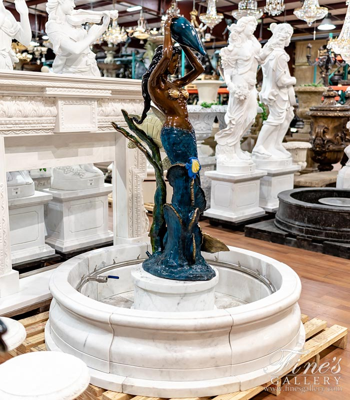 Bronze Mermaid With Sea Turtle and Tropical Fish Fountain