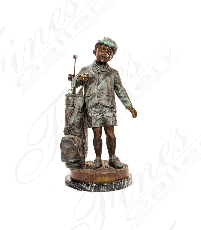 Young Child Golfer Bronze Statue