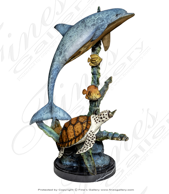 Dolphin, Turtle & Fish Bronze Sculpture