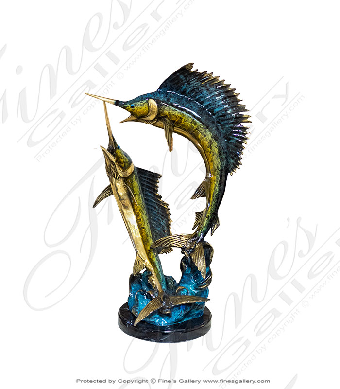 Enamel Bronze Sailfish Statue
