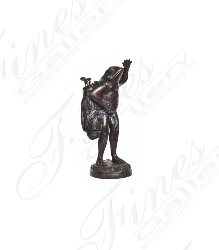 Bronze Frog Golfer Statue