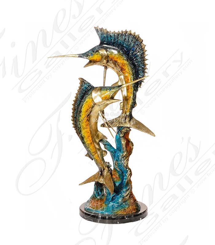 Handmade Bronze Marlins Sculpture