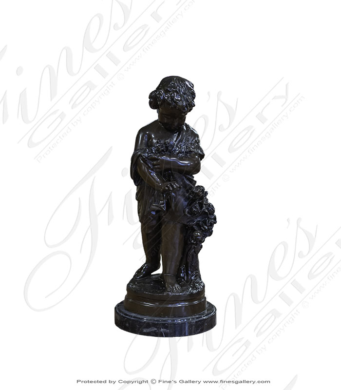 Bronze Child with Flowers