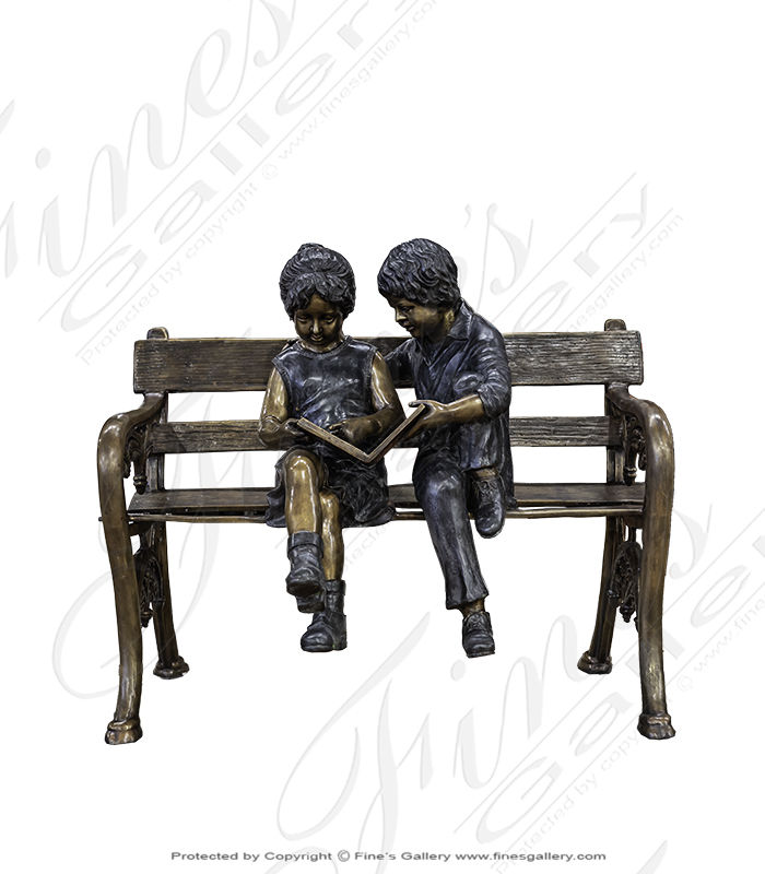 Bronze Kids on Bench Statue