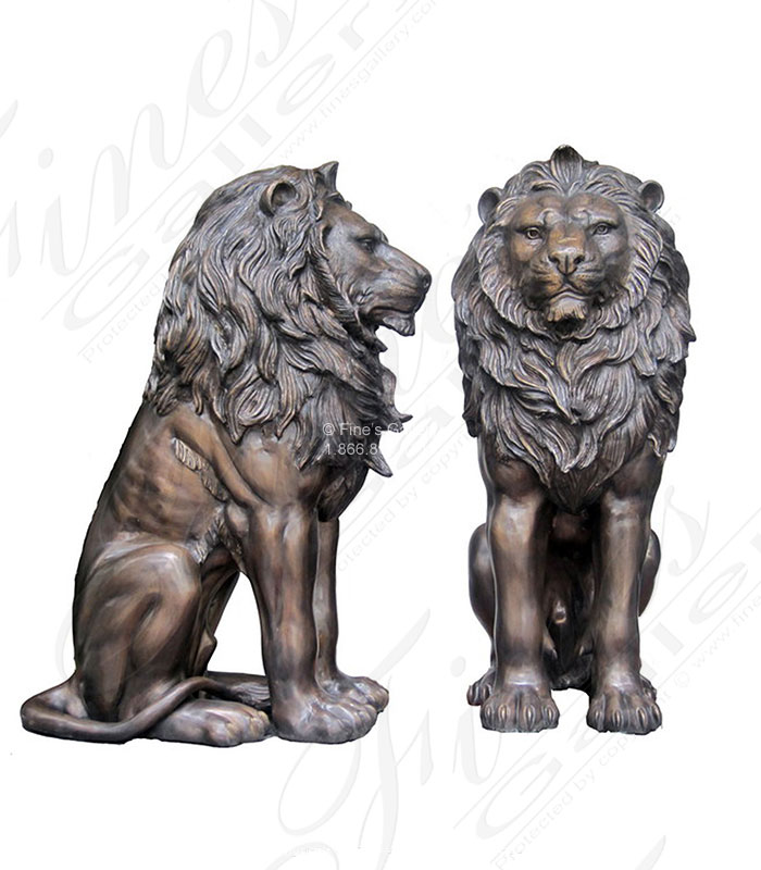 Regal King Bronze Lion Pair