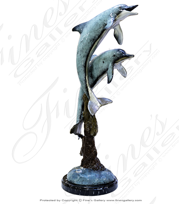 Table Top Bronze Dolphin Statue