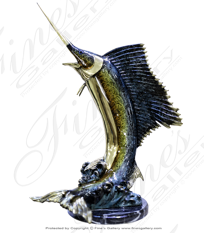 26 Inch Bronze Sailfish Statue