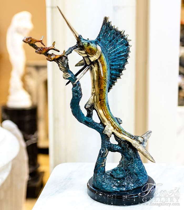 18 Inch Tabletop Bronze Sailfish Sculpture