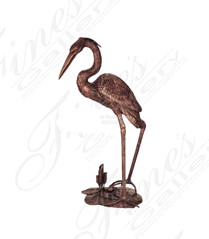 Bronze Heron Bird Statue