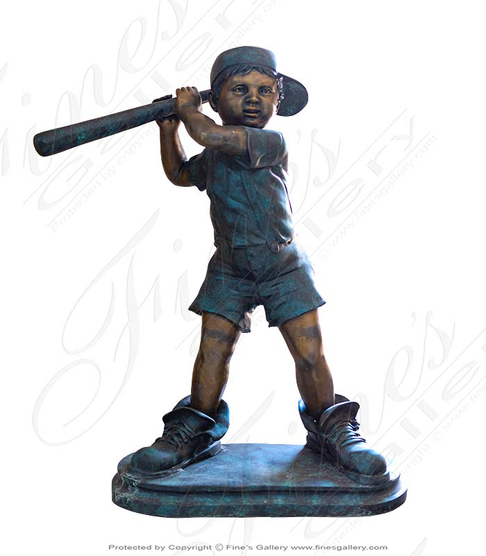 Young Baseball Player Bronze Statue