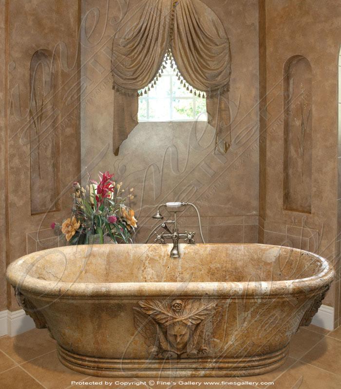 Golden Oval Marble Bath Tub