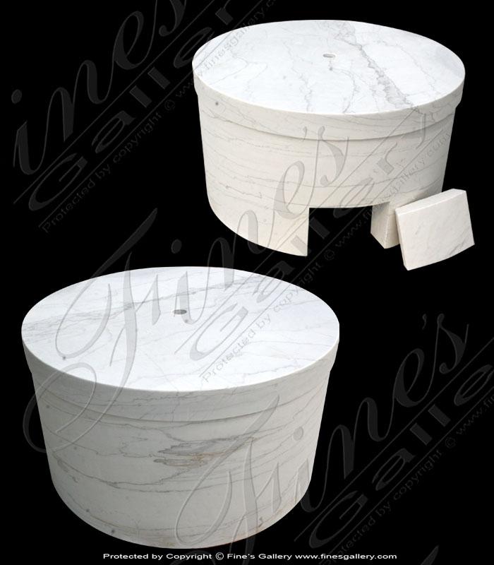 Large White Circular Marble Base