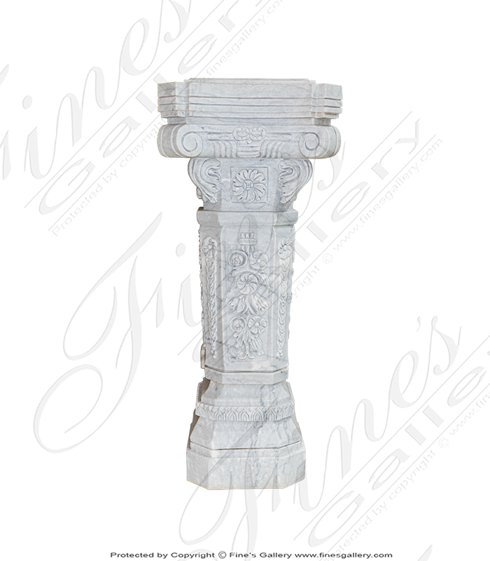 Floral Marble Pedestal Pair in Metrix White Marble