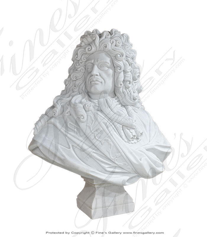 White Marble Bust of Louis XIV