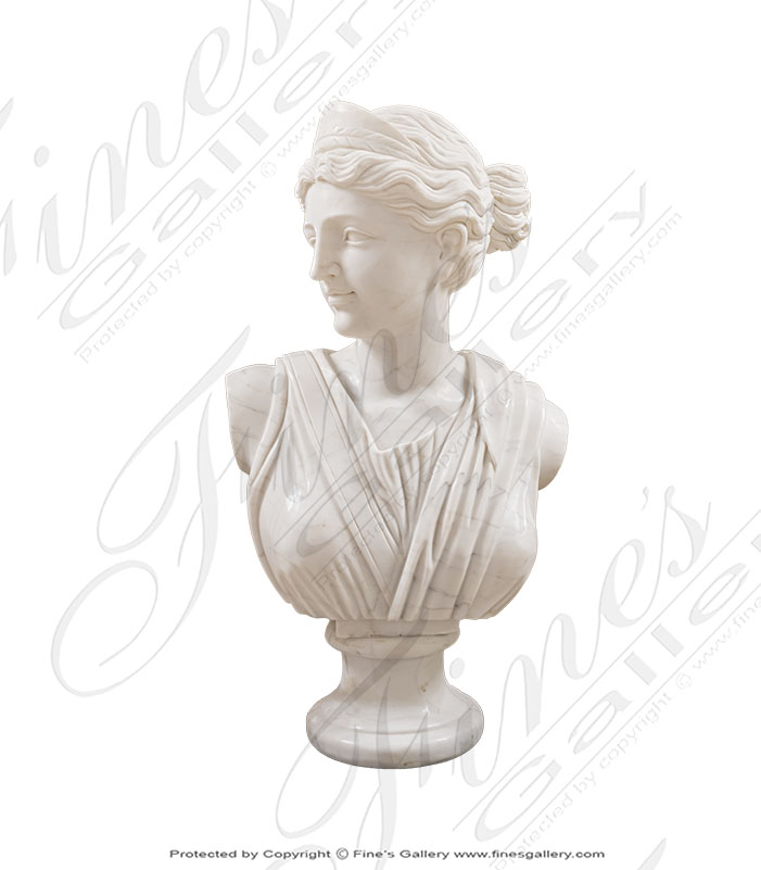Diana Marble Bust Statue in White Marble