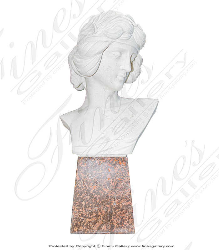 Statuary White Marble Bust of an Art Nouveau Woman