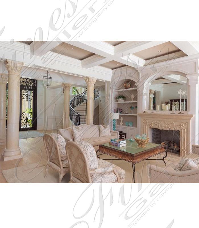 Naples Florida Cream Marble Columns and Mantel