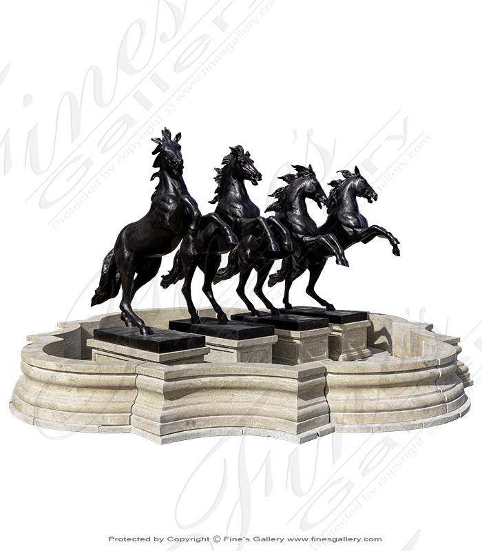 Four Rearing Bronze Horses Fountain