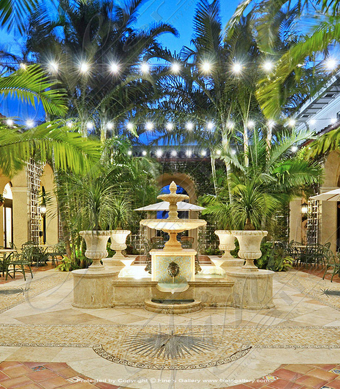 Palm Beach Travertine Fountain with Planters