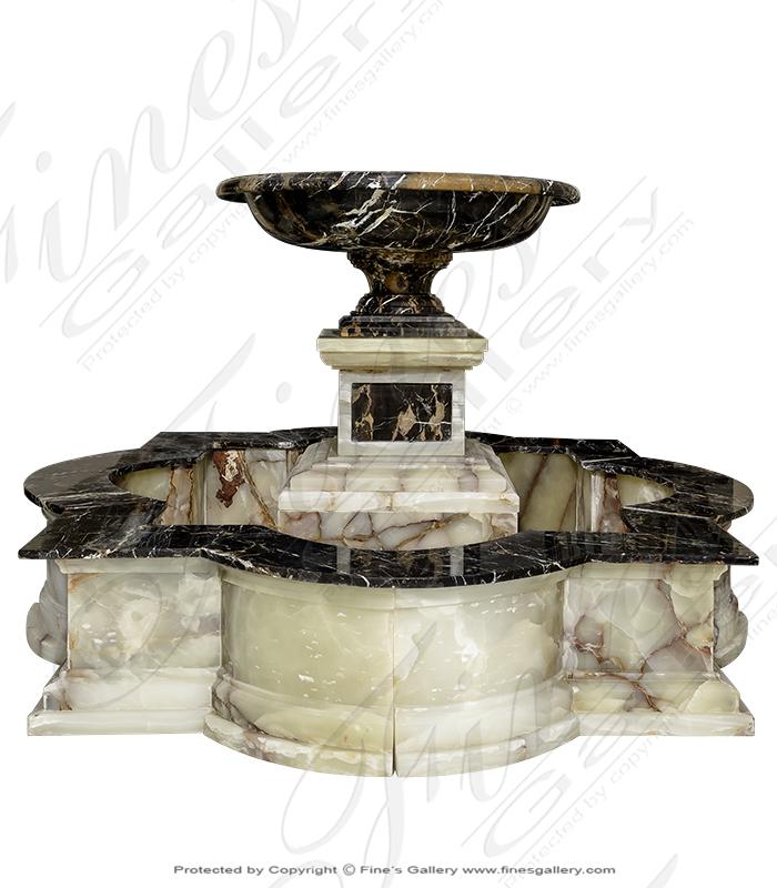 Luxurious black and white marble fountain